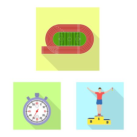 Isolated object of sport and winner icon. Set of sport and fitness stock symbol for web.  イラスト・ベクター素材