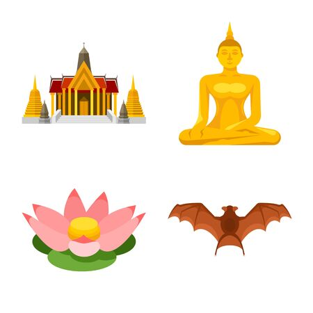 Isolated object of thailand and travel sign. Collection of thailand and culture vector icon for stock. Çizim