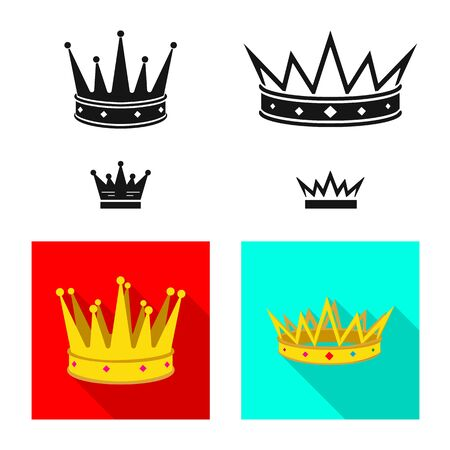 Isolated object of medieval and nobility sign. Set of medieval and monarchy stock vector illustration.