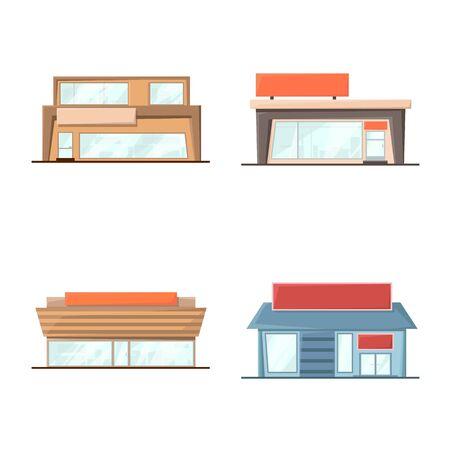 Vector design of building and supermarket symbol. Collection of building and market stock vector illustration.