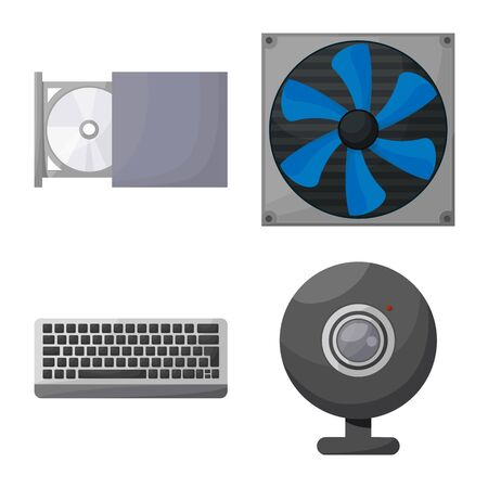 Vector illustration of computer and hardware . Collection of computer and component vector icon for stock.