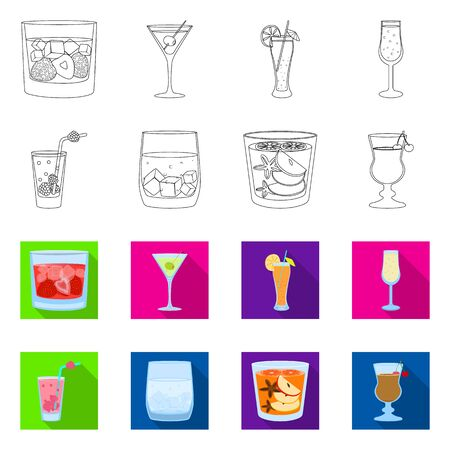 Vector illustration of liquor and restaurant  . Collection of liquor and ingredient stock symbol for web. Иллюстрация