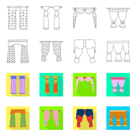 Vector design of curtains and drapes  . Set of curtains and blinds stock symbol for web. Stock Illustratie