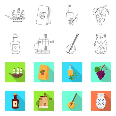 Vector illustration of and historic symbol. Set of and country vector icon for stock.