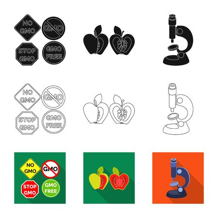 Vector design of test and synthetic icon. Set of test and laboratory stock symbol for web.