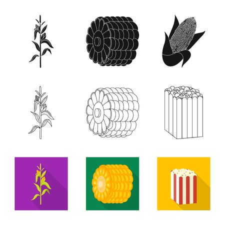 Vector illustration of cornfield and vegetable icon. Set of cornfield and vegetarian stock symbol for web. Banque d'images - 130017076