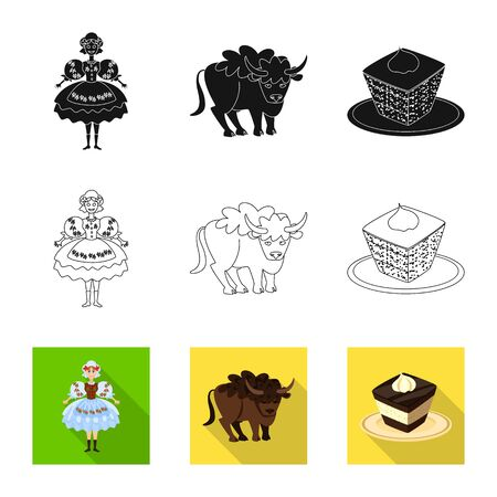 Isolated object of traditional and tour icon. Set of traditional and landmarks stock symbol for web. 일러스트