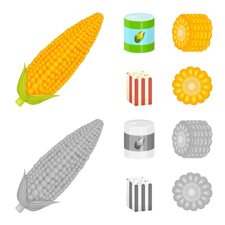 Vector design of cornfield and vegetable symbol. Set of cornfield and vegetarian stock symbol for web. Banque d'images - 130036177