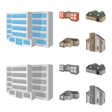Vector illustration of facade and housing sign. Collection of facade and infrastructure vector icon for stock.