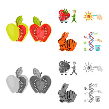Vector illustration of test and synthetic symbol. Set of test and laboratory stock vector illustration. Imagens - 130036191