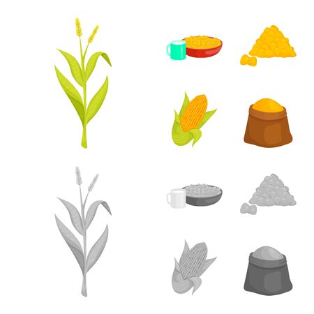 Isolated object of cornfield and vegetable sign. Set of cornfield and vegetarian vector icon for stock. Archivio Fotografico - 130036190