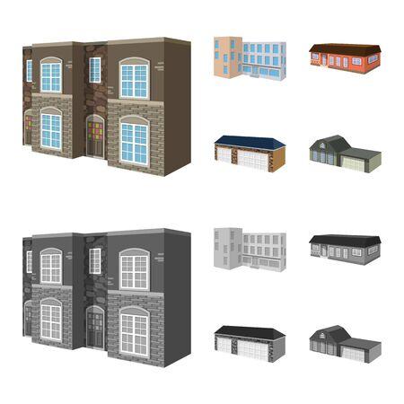 Vector design of facade and housing  . Set of facade and infrastructure vector icon for stock. Illusztráció