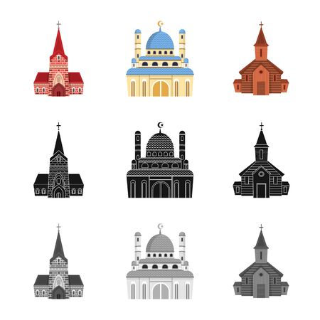Vector illustration of cult and temple symbol. Collection of cult and parish stock vector illustration.