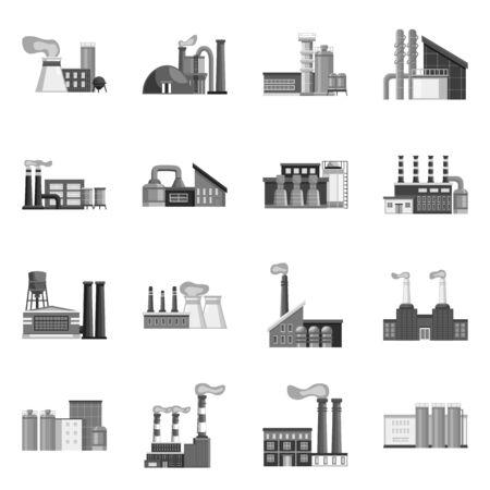 Illustrazione vettoriale del segno di industria e impianto. Set di icone vettoriali per l'industria e la produzione per stock.