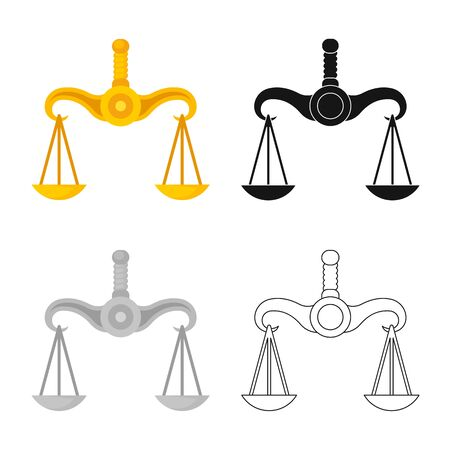 Vector design of scales and greece icon. Set of scales and justice stock symbol for web.
