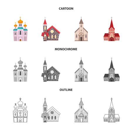 Vector illustration of cult and temple . Collection of cult and parish vector icon for stock.