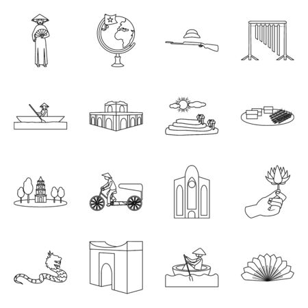 Vector illustration of travel and country icon. Collection of travel and culture vector icon for stock.  イラスト・ベクター素材