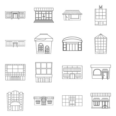 Isolated object of supermarket and building icon. Collection of supermarket and city stock symbol for web.