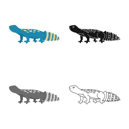 Vector design of lizard and blue . Collection of lizard and crawl stock symbol for web.