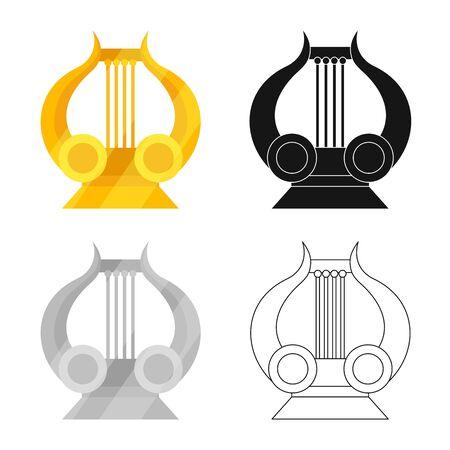 Vector illustration of lira and apollo symbol. Set of lira and art stock symbol for web.