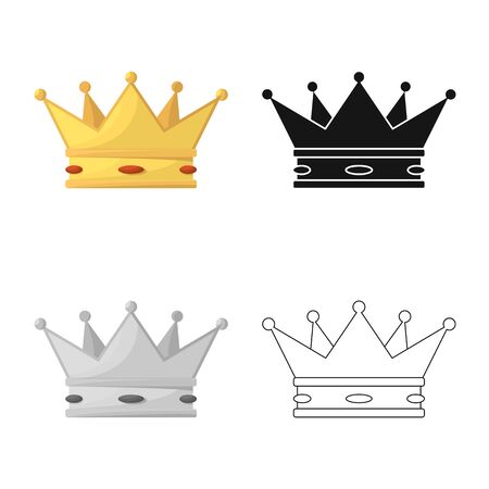 Isolated object of crown and king symbol. Collection of crown and gold stock vector illustration.