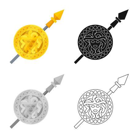 Isoliertes Objekt des Aphrodite- und Göttinnensymbols. Sammlung von Aphrodite- und Geschichtsaktiensymbolen für das Web. Vektorgrafik