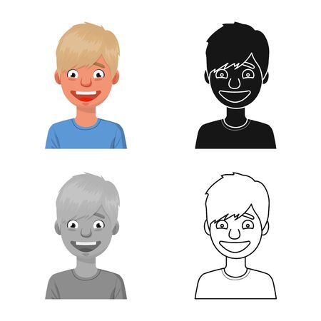 Vector illustration of guy and laugh  . Set of guy and happy stock symbol for web.