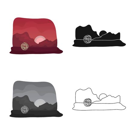 Vector design of tumbleweed and rock icon. Set of tumbleweed and dry vector icon for stock.