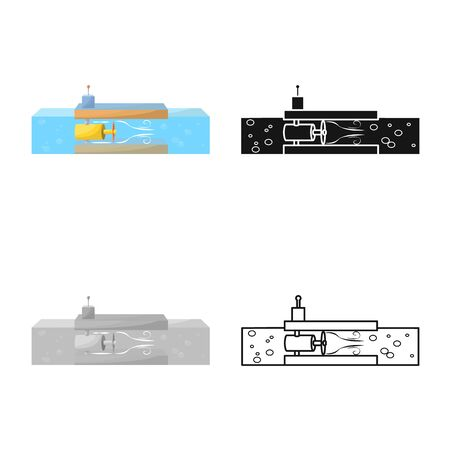 Vector illustration of tidal and power icon. Collection of tidal and turbine stock symbol for web. Illustration