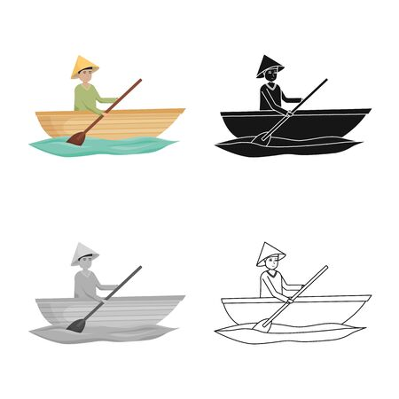 Vector design of boat and vietnamese icon. Set of boat and hat stock symbol for web.