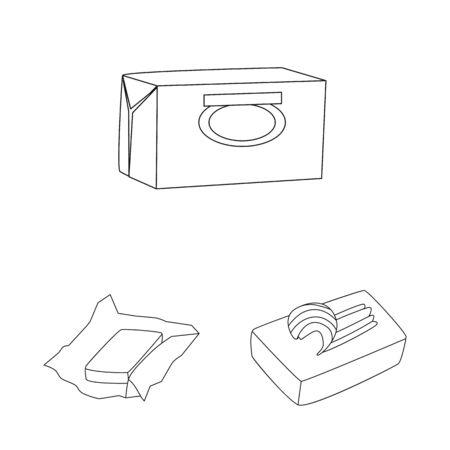 Vector design of margarine and cholesterol logo. Set of margarine and ingredient vector icon for stock. Ilustração