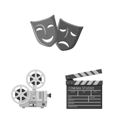 Isolated object of cinematography and studio. Collection of cinematography and filming vector icon for stock.