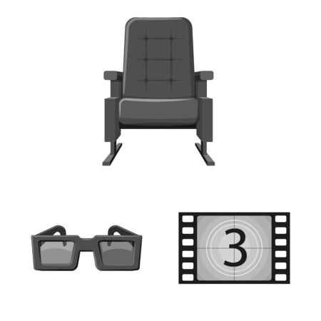 Vector design of cinematography and studio sign. Set of cinematography and filming stock symbol for web. Çizim