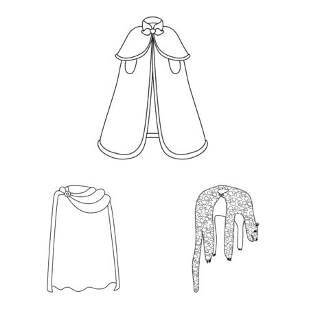 Isolated object of robe and garment sign. Collection of robe and cloth stock vector illustration.