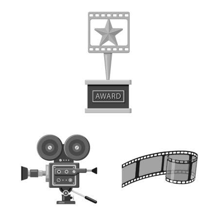 Vector design of cinematography and studio symbol. Set of cinematography and filming stock vector illustration.