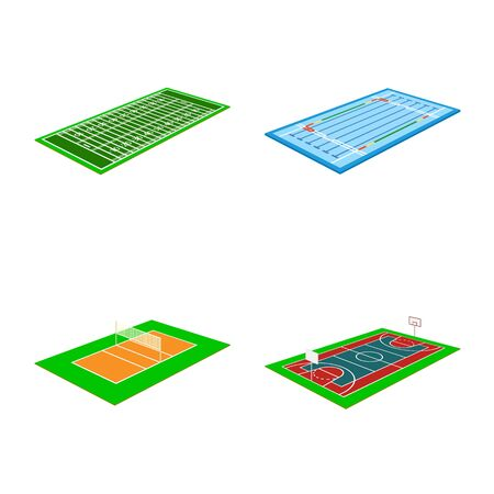 Isolated object of stadium and grass icon. Set of stadium and game stock vector illustration.