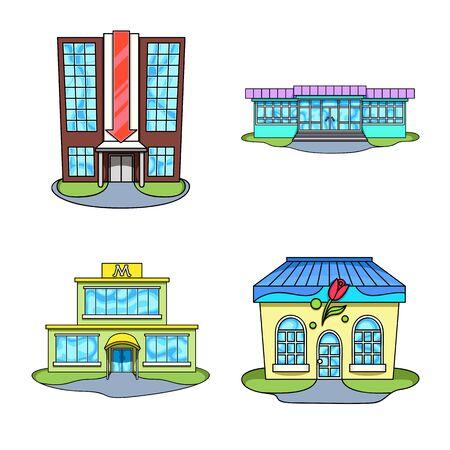 Vector illustration of supermarket and building symbol. Collection of supermarket and city stock vector illustration.