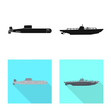 Vector illustration of war and ship. Set of war and fleet stock symbol for web.