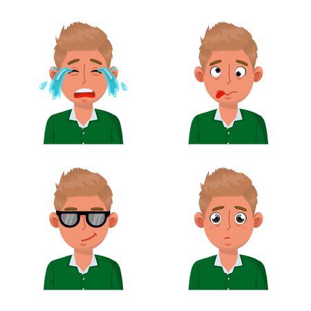 Vector design of face and boy icon. Collection of face and young stock symbol for web.