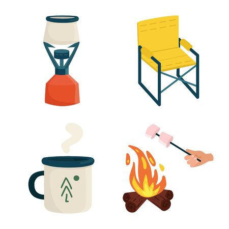 Isolated object of picnic and nature. Set of picnic and travel vector icon for stock.