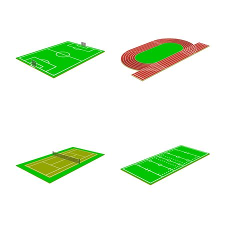 Vector design of stadium and grass logo. Set of stadium and game vector icon for stock. Archivio Fotografico - 129503299