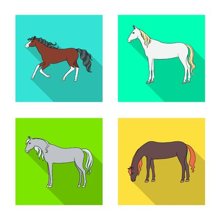 Isolated object of breed and equestrian symbol. Set of breed and mare stock vector illustration. Çizim