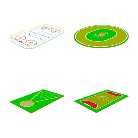 Vector illustration of stadium and grass symbol. Set of stadium and game vector icon for stock. Illustration
