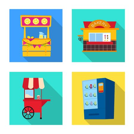Vector illustration of amusement and store. Collection of amusement and urban vector icon for stock.