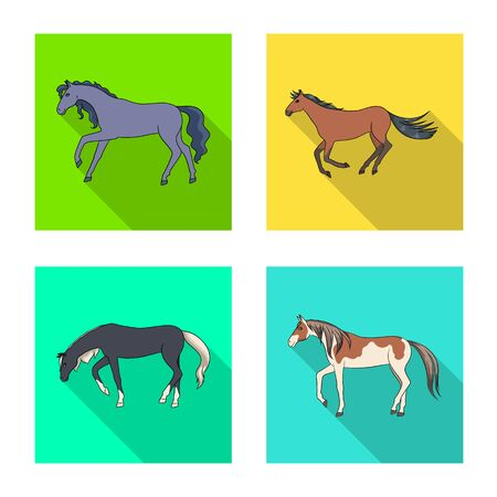 Vector illustration of breed and equestrian symbol. Set of breed and mare stock vector illustration. Çizim