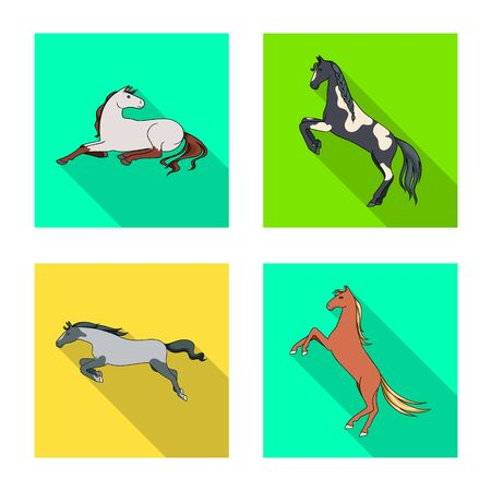 Vector illustration of breed and equestrian icon. Set of breed and mare vector icon for stock.