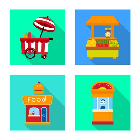 Vector illustration of amusement and store icon. Collection of amusement and urban stock symbol for web.
