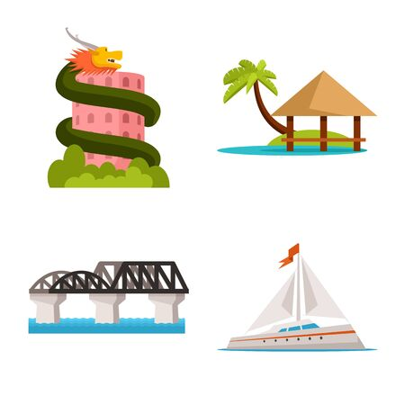 Isolated object of thailand and travel sign. Set of thailand and culture stock vector illustration.