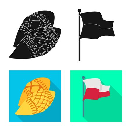 Vector design of traditional and tour sign. Collection of traditional and landmarks vector icon for stock.