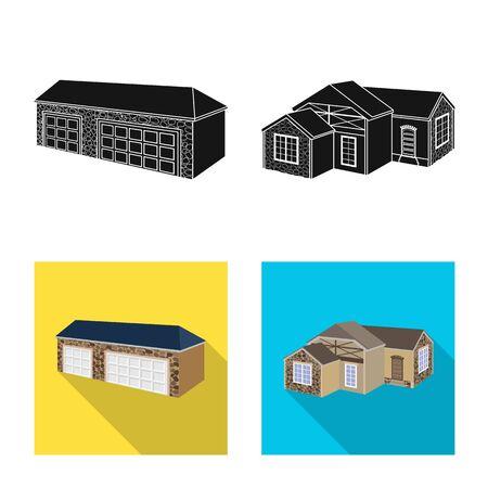 Vector illustration of facade and housing logo. Set of facade and infrastructure stock symbol for web. Banco de Imagens - 129503719